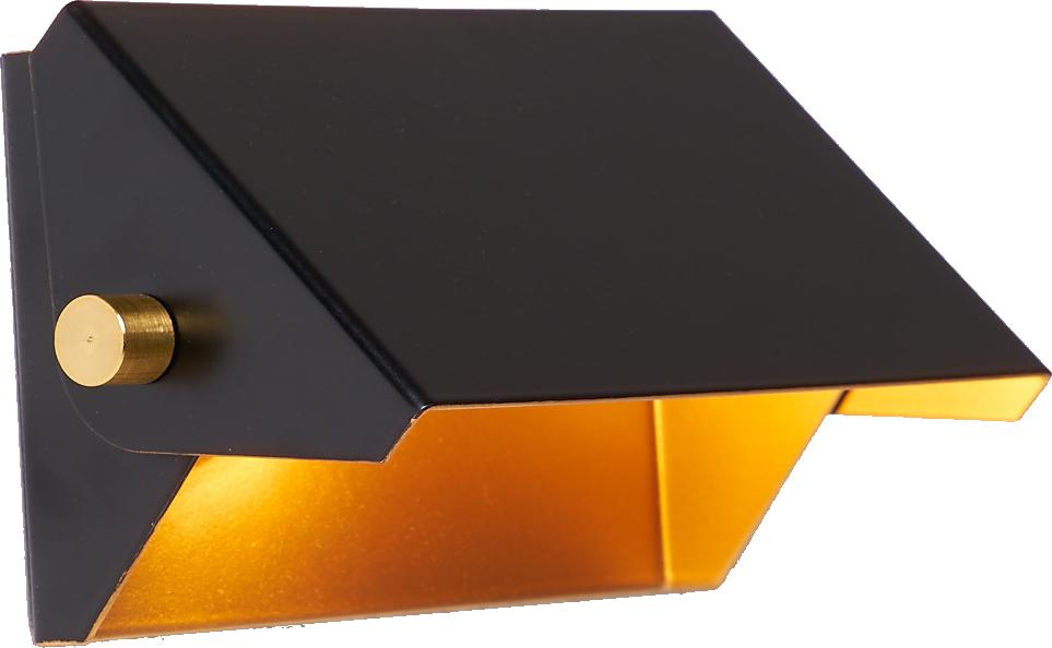 Applique rectangle 15cm noir/or